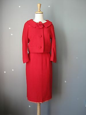 Vintage 1950s Lord & Taylor Skirt Suit Jack Feit Red Wool Boucle Pencil Boxy