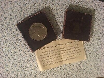 Collectable 1951 George Vi Festival Of Britain Crown Piece Red Box Leaflet Coin