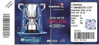 Liverpool Fc V Manchester City Ticket - Capital One Cup Final - 28/02/2016