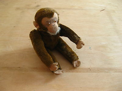 "Vintage old plush stuffed small mohair monkey brown jointed 5.90"" tall"