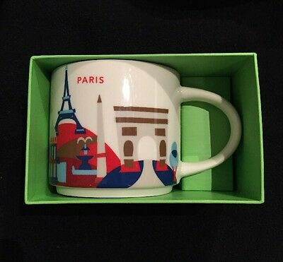 Starbucks Paris Mug YAH France You Are Here  Eiffel Tower Notre Dame Coffee Cup