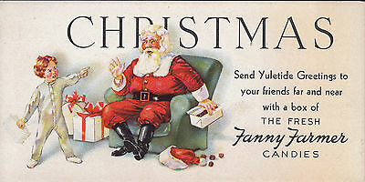Fanny Farmer Candies Advertising Blotter Santa Claus and Child