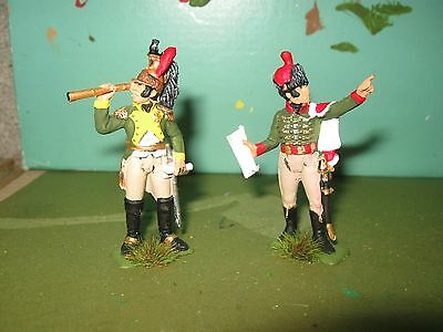 2 X French Staff Officers Waterloo  Napoleonic Wars,  1/32Nd Painted Soldiers