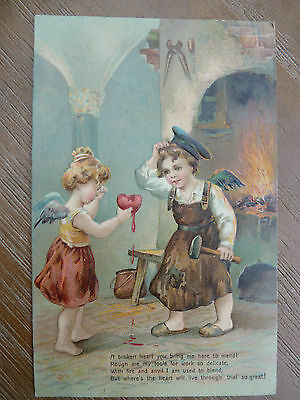 Edwardian 1907 Embossed Valentine's Day Postcard - to Isle of Wight