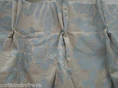 New LARGE Curtain in Laura Ashley TATTON DUCK EGG Blue INTERLINED