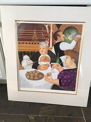 Beryl Cook Signed Ltd Edition Print Dining in Paris Mounted No 71 In Cellophane