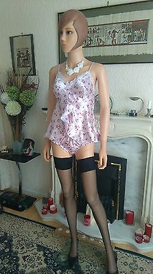 Stunning Ultra Femme BHS Size 8 Glossy Satin Poly Lacy Tap Pantie Body Babydoll3