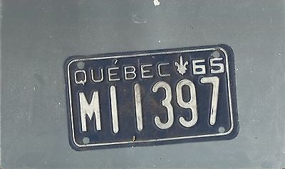 Vintage 1965 CANADA QUEBEC  MOTORCYCLE  license plate MI 1397