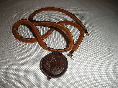 Antique Chinese Carved Cinnabar Pendant Silk Cording Necklace