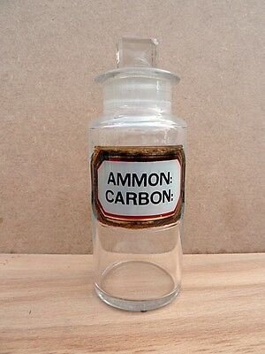 Antique Small Apothecary / Chemist / Pharmacy Bottle:  Ammon: Carbon: