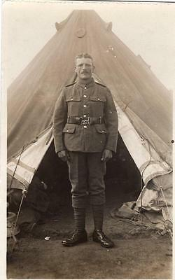 WW1 Soldier at Camp Unknown Regiment Military Army RP Postcard