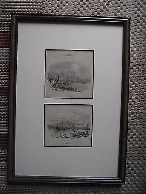 Framed & Glazed Pair of Antique Prints of Hong Kong & Macao (Macau)