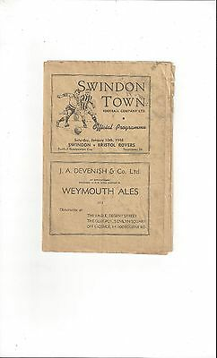 Swindon Town v Bristol Rovers Combination Cup Football Programme 1947/48