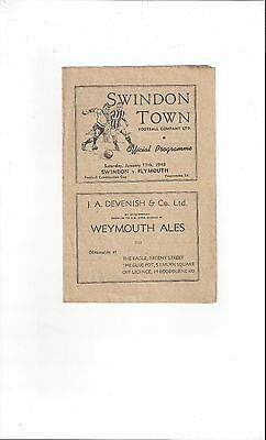 Swindon Town v Plymouth Argyle Combination Cup Football Programme 1947/48