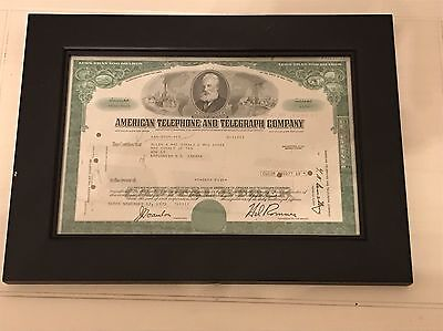 1971 American Telephone AT&T 35 Shares Stock Certificate Green w Frame Free Ship