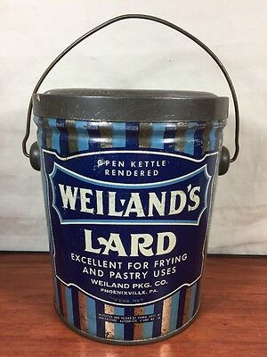 Vintage Antique Collectible Weiland's Lard Phoenixville, PA. Advertising Tin Can