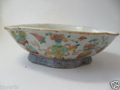 Unusual Antique Chinese Hand Painted Porcelain Dish With Mark Antique Original