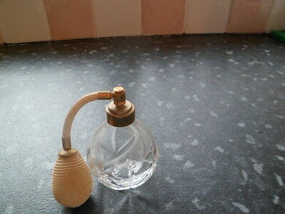 cut   glass perfume bottle  with a pump