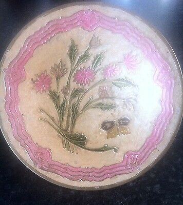 Vintage Enamel on Brass Bowl/Dish with Floral and Butterfly Decoration