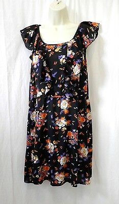 Women's Size 8 New Look Dress Tunic Black Floral Sleeveless Beaded