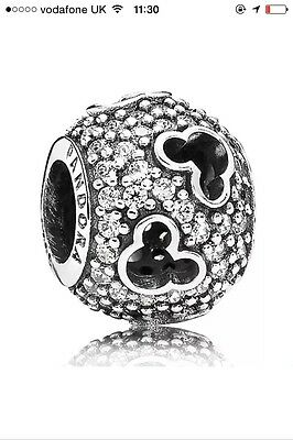 Pandora DISNEY MICKEY SILHOUETTES Charm Silver S925 Mickey Mouse Fast Post
