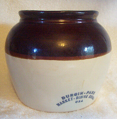 VINTAGE Antique 3 Qt Stoneware Crock Durgin Park Market Dining Rooms Boston, MA