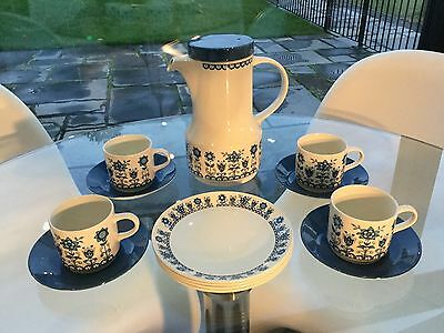 johnson brothers vintage retro coffee/tea set, tudor blue