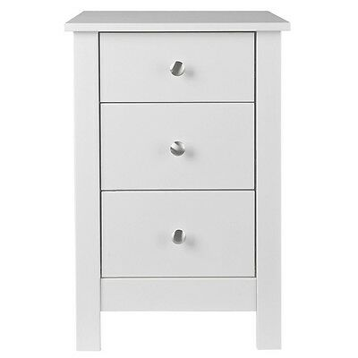 Florence 3 Drawer Bedside Cabinet Night Table in White