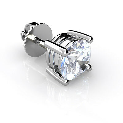 Mens Real Diamond Stud Earring 18ct White Gold Round Brilliant Cut. Choose size
