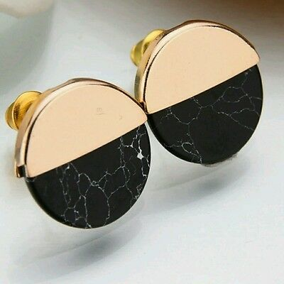 New Black Granite Marble Stone Gold Round Stud Earrings Jewellery Cheap