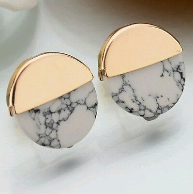 New Brand White Granite Marble Stone Gold Round Stud Earrings Cheap Jewellery
