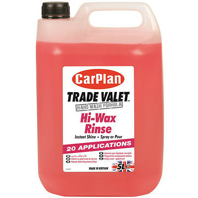 CarPlan Trade Valet Hi-Wax Rinse Instant Shine Wash Wax Polish Valeting 5 Litre
