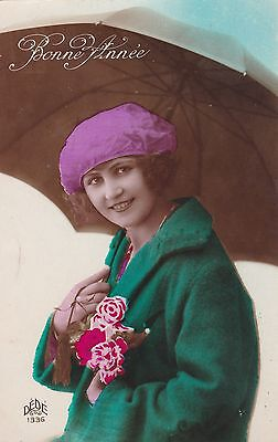 French Beauty Holding Umbrella - Green Wool Coat - Antique Tinted PC - Dede 1336
