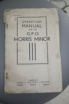 Operation manual for GPO  POST OFFICE - MORRIS MINOR 1934 -35