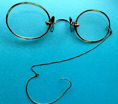 Antique Pince Nez (Pnch On The Nose) Spectacles, Ear Hook On Chain.