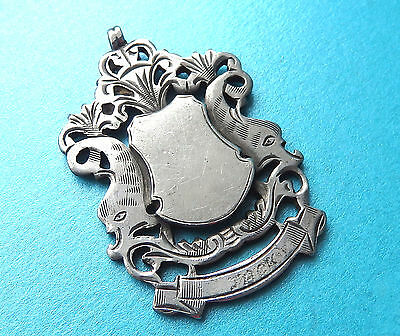 Antique Large Sterling Silver Watch Chain Fob-Pendant,1907,engraved Ornate.