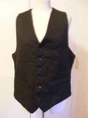 Vintage theatrical black quilted fabric waistcoat fully lined size 40 chest