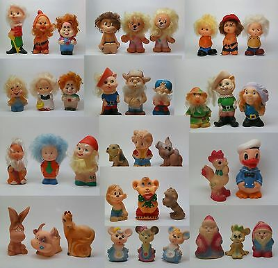 38 Set Characters Cartoon Vintage Rubber Toys Soviet Russia USSR