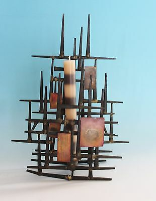 Mid Century Modern Brutalist Iron Candle Holder Wall Sconce Metal