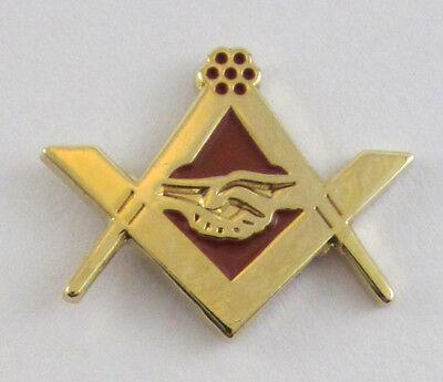 Masonic Square Compasses Handshake Lapel Pin Mason Freemason