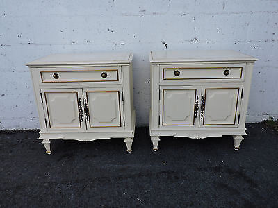 Pair of French Painted Nightstands End Tables by Century 8110