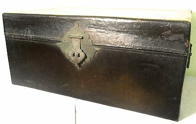 Antique Chinese Black Leather Trunk (5982), Circa 1849-1850