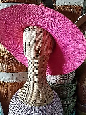 "14"" Vintage Wicker Head Holder Wig Glass Hat Display Stand Rattan Natural#002"