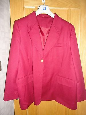Vintage NwoT SMITH COLLECTION Raspberry Red PURE NEW WOOL Jacket - size 22
