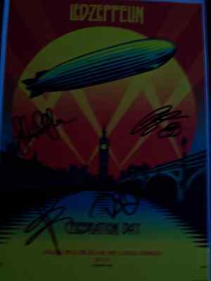 Signed A4 Print from Album Cover, Celebration Day, of Rock Band Led Zeppelin