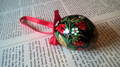 Beautiful Hand Painted Russian Easter Folk Egg With Strewberries