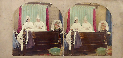 STEREOVIEW PHOTO [COLOURED] - domestic scene of couple in bed