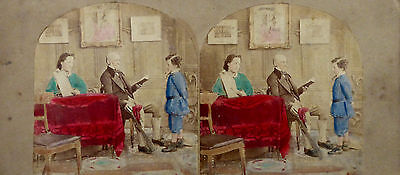 Stereoview Photo [Coloured] 'spare The Rod And Spoil The Child'