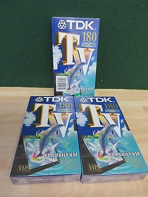 TDK TV180 VHS PAL VIDEO TAPES x 3  FACTORY SEALED brand new