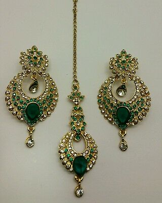 New Indian bollywood Elegant tikka and Earrings in teal  costume jewellery